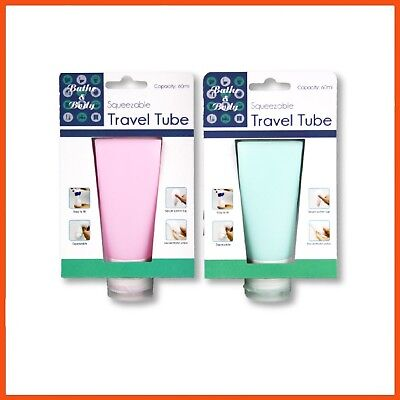 12 x 60 mL REFILLABLE TRAVEL TUBES | Coloured Silicone Toiletries Bottles Bottle