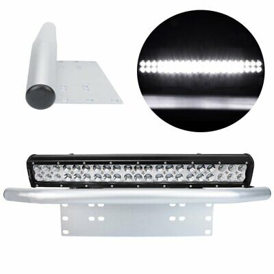 "20 inch 294W CREE LED Light Bar SPOT FLOOD COMBO 23"" Silver Number Plate Frame"