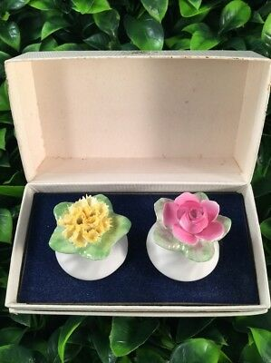 Vintage Royal Adderley Salt and Pepper floral shakers pink and yellow