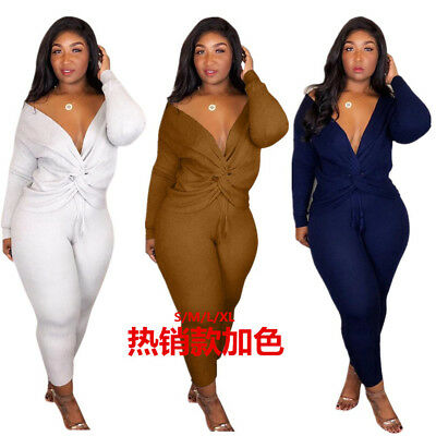 Women V Neck Bodycon Rib-knit Club Casual Long Party Outfits Jumpsuit 2pc
