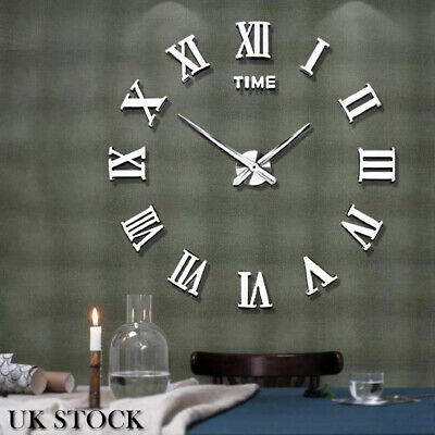 DIY 3D Large Roman Numerals Mirror Wall Clock Sticker Decor for Home Office Room