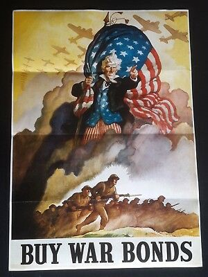 1943 Ww2 America Uncle Sam Buy War Bonds Plane Soldier Army Propaganda Poster