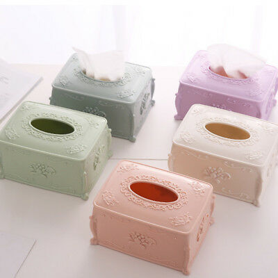 KD_ Vintage European Carving Style Tissue Box Paper Storage Holder Home Decor