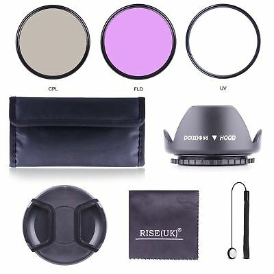 58MM UV CPL FLD Filter Kit + Lens Hood for DSLR SLR Canon Rebel 18-55MM