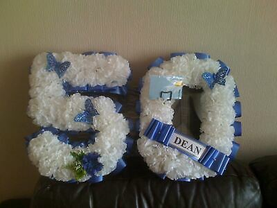 Artificial Silk Funeral Flower Tribute Any 2 Number Letter Wreath Memorial 21 18
