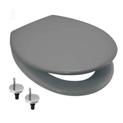 Standard Universal Soft Close Toilet Seat Grey Quick Release Adjustable Hinges