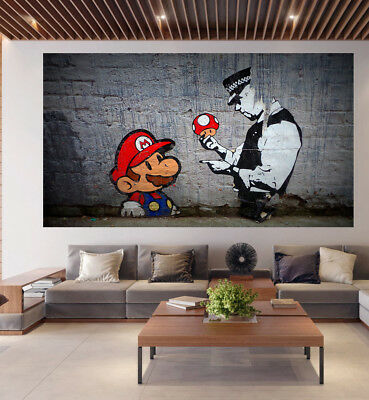 Australia  mario brother arrest Art  Painting street banksy original  By Pepe