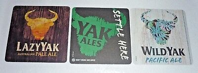 Collectable beer coasters: Set of 3 Fat / Lazy & Wild Yak beer coasters