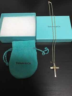 "Tiffany & Co. Sterling Silver 18K Yellow Gold Cross Pendant 18"" Necklace"