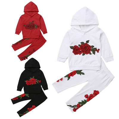 Fashion Embroidery Kids Baby Girls Hooded Top Pants Outfits Clothes Tracksuit US