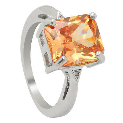 Ring Silver Plated Rectangular Champagne Coloured Zirconia Crystal B6892R