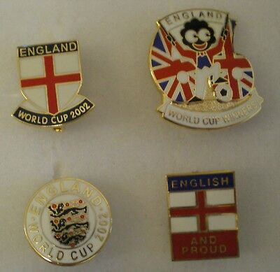 ENGLAND Football Pin Badges x 4 includes ENGLISH & PROUD WORLD CUP