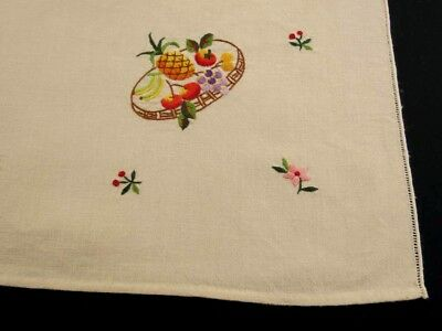 Vintage, Retro Linen - Fruit Embroidered Small Tablecloth, Runner or Tea Towel