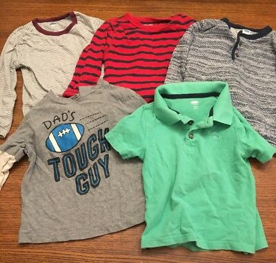 Lot Of 5 Baby Boys Toddler Shirt Size 3t. 4 Long Sleeve And 1 Short Sleeve.