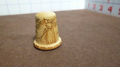 THIMBLE - Vintage Collectible - WOOD - hand crafted w woman farming scene - EUC