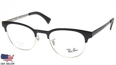 9906f52265 NEW Ray Ban RB6317 2832 BLACK On MATTE SILVER EYEGLASSES RB 6317 49-20-