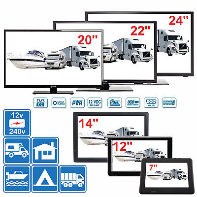 "7"" - 24"" Digital TV 12v 240v for Motorhome Caravan Boat DVB-T2 Freeview PVR"