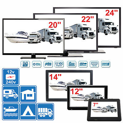 "7"" - 24"" TV's 12v / 240v for Motorhomes, Caravans, Boats DVB-T (Freeview) & PVR"