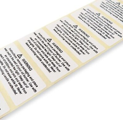 25Mm X 50Mm Warning Candle Melt Safety Labels Stickers Burn Instruction Stickers