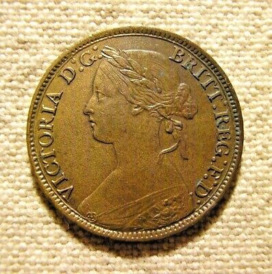 1860 GREAT BRITAIN 1 FARTHING coin - High Grade