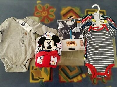 mickey mouse hooded towel & wash cloth set+ 3-6months new baby boy clothes