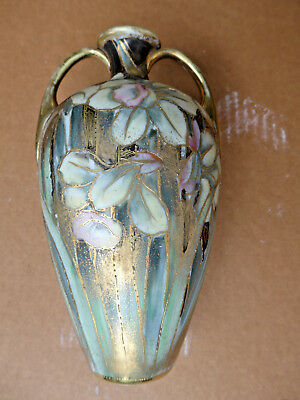 vintage antique old nippon hand painted vase   excellent flowers gold