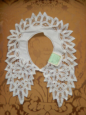 Vintage White Battenburg Battenberg Lace Collar 17 x 19