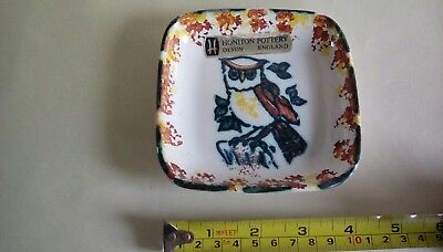 Honiton Pottery Pin  Dish with Owl Decoration.