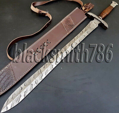 Custom Handmade Damascus Hunting Sword Knife***35 Inches WITH Rose Wood Handle
