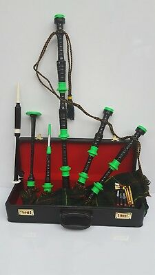 Great Highland Bagpipes Rosewood Green Mounts Free Hard Case,Practice Chanter