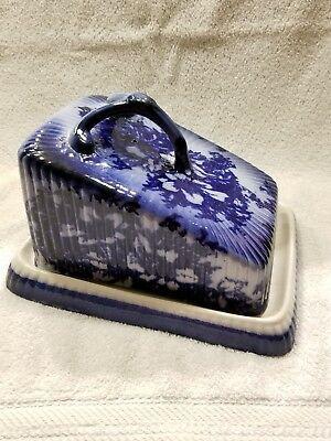 Antique English Coat Of Arms Blue Ironstone Pottery Cheese Keeper