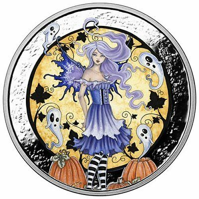 Amy Brown Collection - Haunted Pumpkin Patch 1 oz Silver Colorized Proof Round