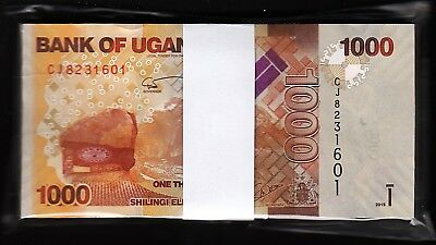 Uganda, 1000 Shillings, 2015, Unc, ½ Bundle, Consecutive Pack of 50 Pcs, P-49c