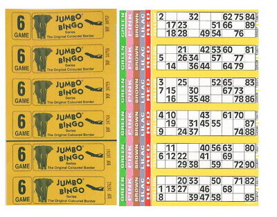 60 Books 5 Page Game 10 Strips Of 6 Tv Jumbo Bingo Ticket Sheet Big Bold Numbers