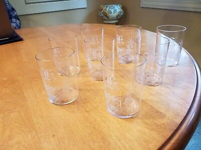 """Set of 8 Etched Glass Victorian 8 oz. Glass Monogramed """"K"""" and Cherub"""
