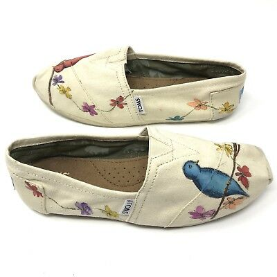 Womens TOMs 8 Beige Bird Print Hand Painted Slip On Floral Canvas Flats RARE