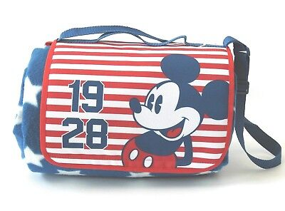 """DISNEY Store Picnic Blanket MICKEY MOUSE AMERICANA 70"""" x 80"""" Never Used"""