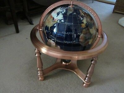 Blue World Globe on copper coloured stand with compass, approx 14 inches high