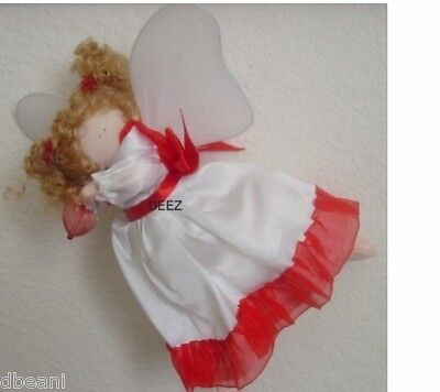 "Angel Hanging Flying Doll Ornament  Holding Red Heart  7"" Delton New"
