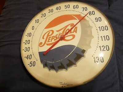 Vintage Pepsi Cola Soda Ice Cold Pop Round Advertising Thermometer Sign Chicago