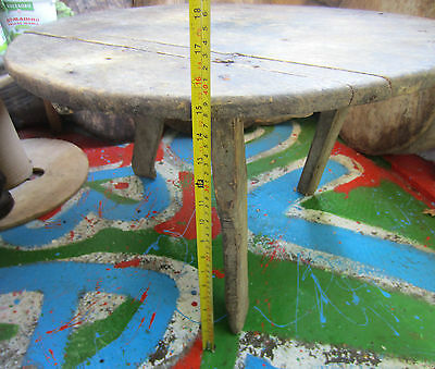 """26+""""  19thC OLD wooden ✿  antique primitive LOW ROUND DINING rustic TABLE"""