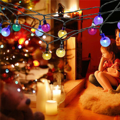 UK Solar Fairy String LED Lights Crystal Ball Christmas Tree Party Decorations