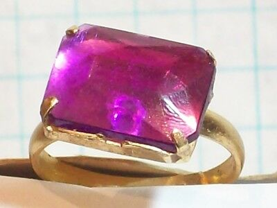 Ring Child'S Purple Rectangular Plastic Stone .670 Diameter Size 6 ¾ Adjustable