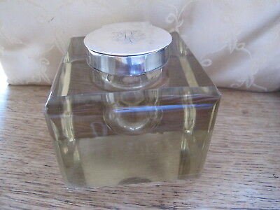 HUGE EDWARDIAN HM STERLING SILVER/GLASS INKWELL - HAMILTON & Co - 1909 - 1822.9g