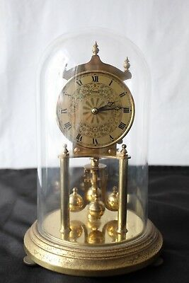 Belle Pendule Kundo 400 Jours Mecanique Globe Verre Doré Made In Germany A927