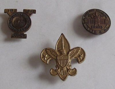 THREE Vintage Lapel Pins, 1931 & 1932 YMCA Older Boys And Boy Scout Pin