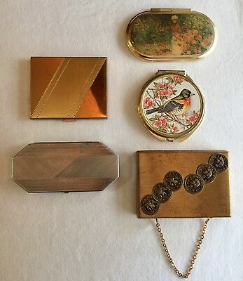 Lot Of 5 Vintage Compacts- Zell Elgin Houbigant- Makeup Powder Rouge Mirror Pill