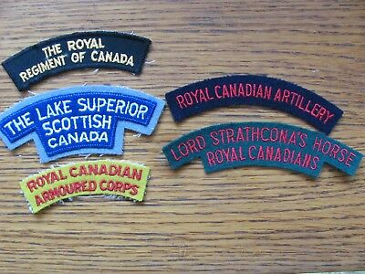 Five Canadian Military Shoulder Patches