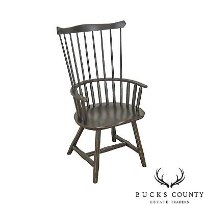 Hunt Country Furniture Black Painted Oak Windsor Arm Chair