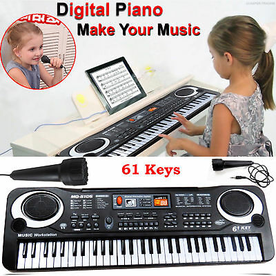 61 Keys Digital Music Electronic Keyboard & Microphone Electric Piano Organ